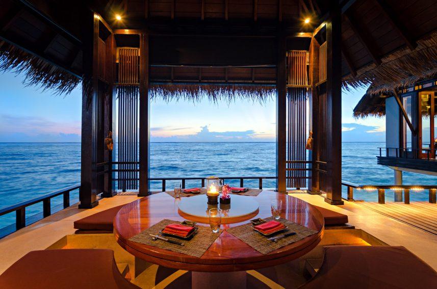 One&Only Reethi Rah Luxury Resort - North Male Atoll, Maldives - Tapasake Restaurant Overwater Pavilion Table