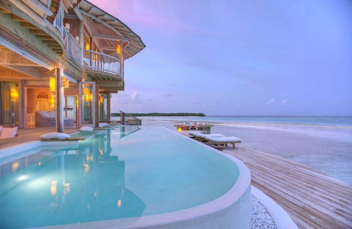 Soneva Jani Luxury Resort - Noonu Atoll, Medhufaru, Maldives - Overwater Villa Pool Deck Sunset