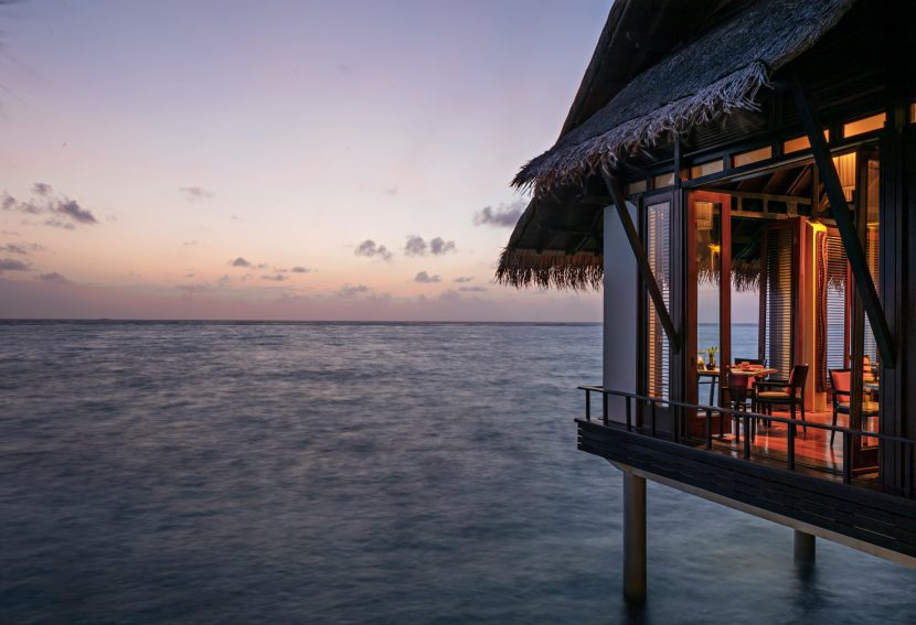 One&Only Reethi Rah Luxury Resort - North Male Atoll, Maldives - Tapasake Restaurant Oceanview Tables Dusk
