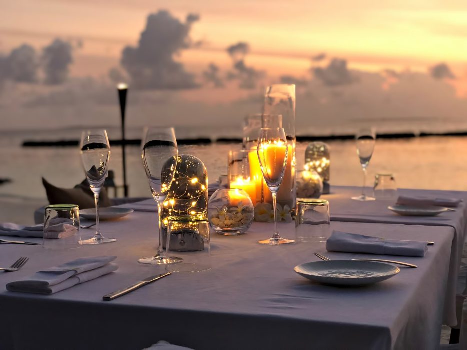 Cheval Blanc Randheli Luxury Resort - Noonu Atoll, Maldives - Beach Dining Sunset