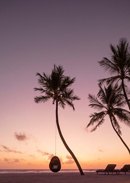 One&Only Reethi Rah Luxury Resort - North Male Atoll, Maldives - Beach Palm Tree Hanging Chair Sunset