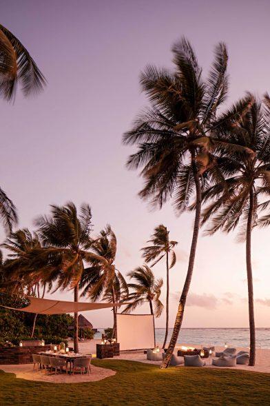 One&Only Reethi Rah Luxury Resort - North Male Atoll, Maldives - Beachfront Lounge Chairs Sunset