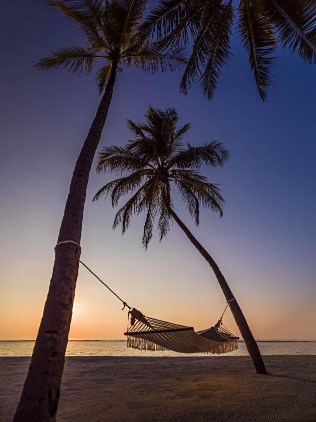 One&Only Reethi Rah Luxury Resort - North Male Atoll, Maldives - Palm Tree Hammock Beach Twilight