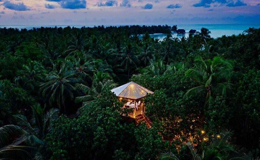 One&Only Reethi Rah Luxury Resort - North Male Atoll, Maldives - Tree House Restaurant Twilight