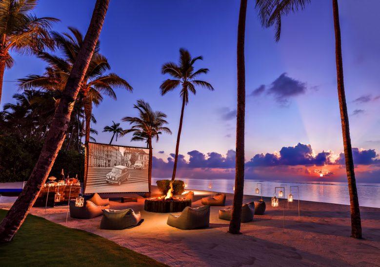 One&Only Reethi Rah Luxury Resort - North Male Atoll, Maldives - Beachfront Movie Night Screen Sunset