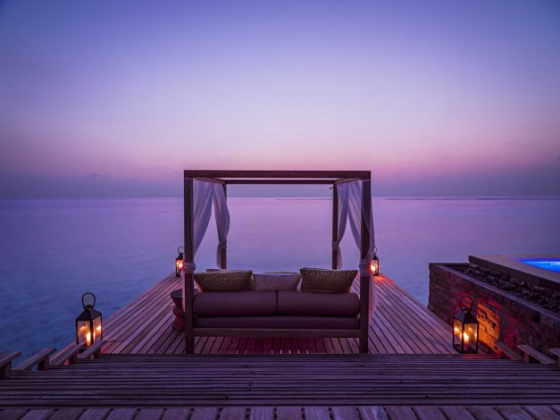 One&Only Reethi Rah Luxury Resort - North Male Atoll, Maldives - Overwater Villa Pool Deck Lounge Sunset