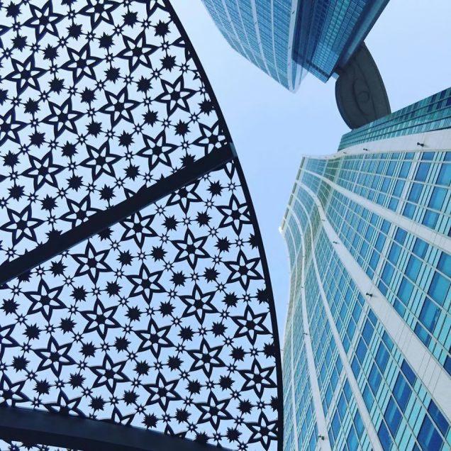 The St. Regis Abu Dhabi Luxury Hotel - Abu Dhabi, United Arab Emirates - Twin Tower View Looking Up