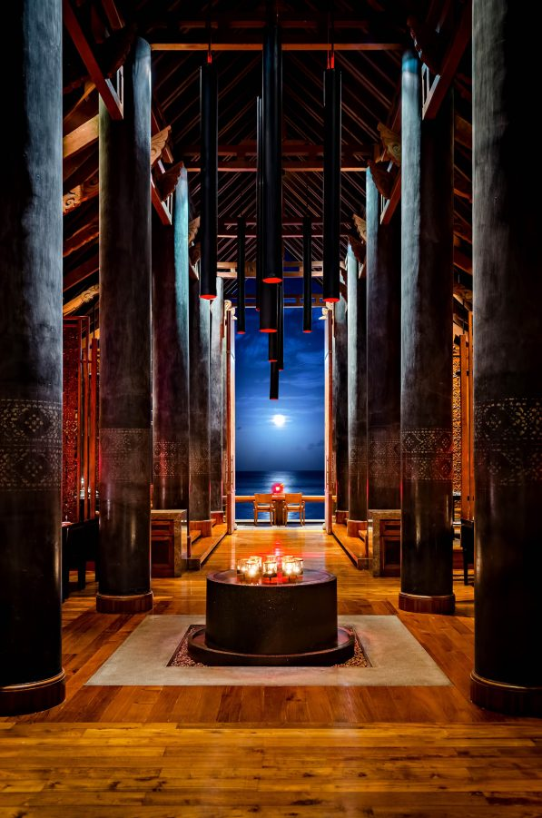 One&Only Reethi Rah Luxury Resort - North Male Atoll, Maldives - Aqua Overwater Restaurant Night