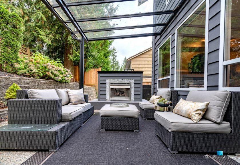 2366 Sunnyside Rd, Anmore, BC, Canada - Exterior Back Covered Deck Fireplace