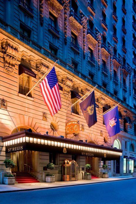 The St. Regis New York Luxury Hotel - New York, NY, USA - Night Exterior Front Entrance