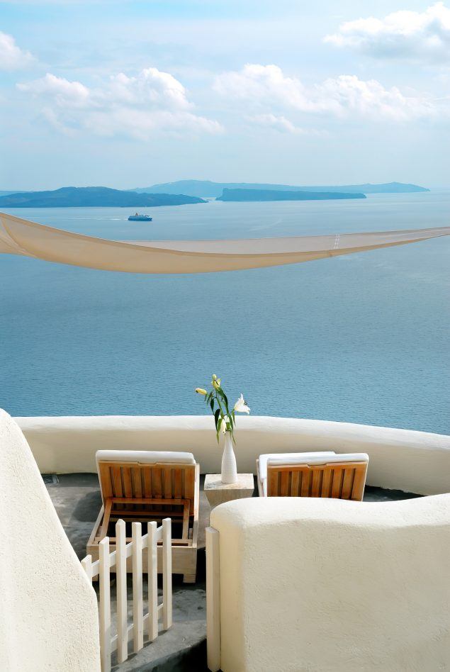 Mystique Luxury Hotel Santorini – Oia, Santorini Island, Greece - Clifftop Balcony View
