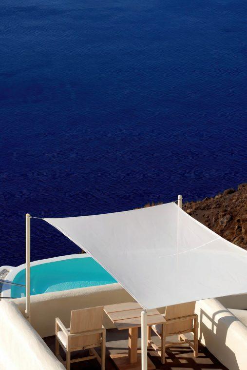 Mystique Luxury Hotel Santorini – Oia, Santorini Island, Greece - Clifftop Balcony Pool Ocean View