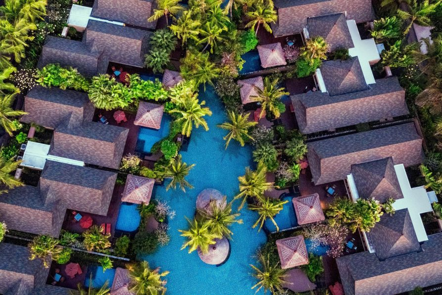 The St. Regis Bali Luxury Resort - Bali, Indonesia - Villas and Lagoon Overhead Aerial View