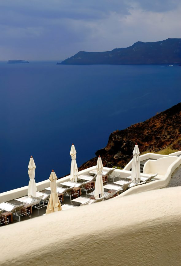 Mystique Luxury Hotel Santorini – Oia, Santorini Island, Greece - Ocean View Pool Deck Patio Chairs