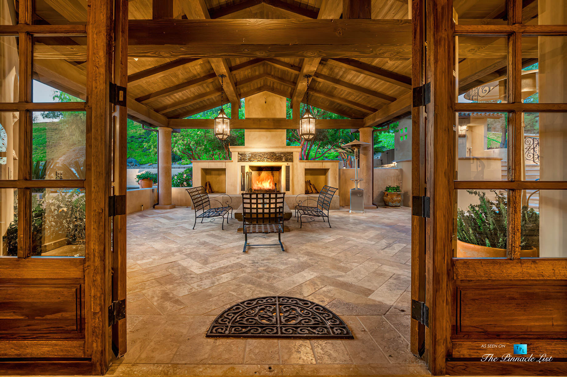 Spectacular 251 Acre Twin Oak Ranch – 2667 Via De Los Ranchos, Los Olivos, CA, USA – Italian Villa Residence Outdoor Patio with Fireplace