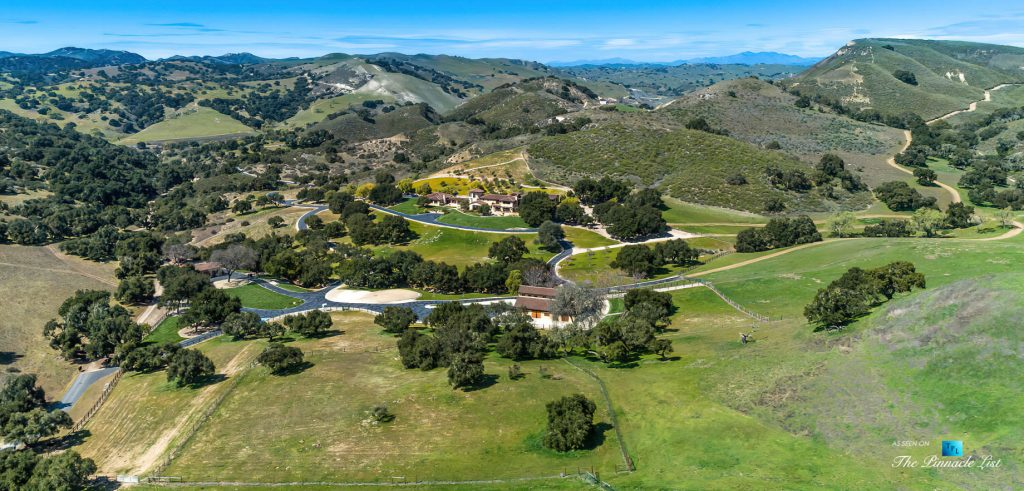 Spectacular 251 Acre Twin Oak Ranch - 2667 Via De Los Ranchos, Los Olivos, CA, USA - Italian Villa Residence Aerial Property View