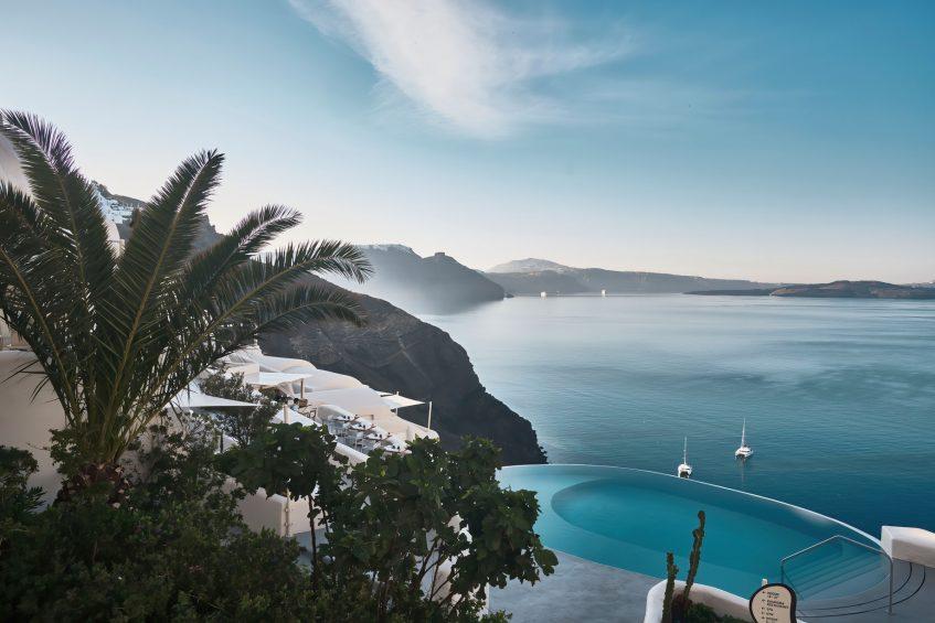 Mystique Luxury Hotel Santorini – Oia, Santorini Island, Greece - Clifftop Main Infinity Pool View