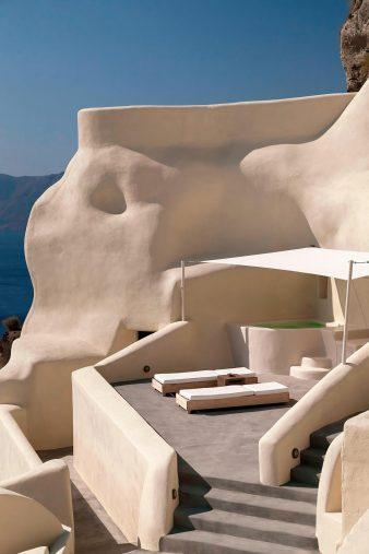 Mystique Luxury Hotel Santorini – Oia, Santorini Island, Greece - Private Terrace Sun Beds