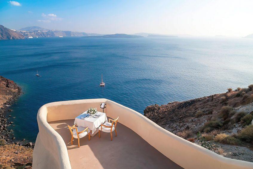 Mystique Luxury Hotel Santorini – Oia, Santorini Island, Greece - Private Dining Terrace with Sea View