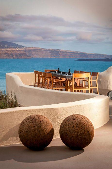 Mystique Luxury Hotel Santorini – Oia, Santorini Island, Greece - ASEA Restaurant Table Sea View