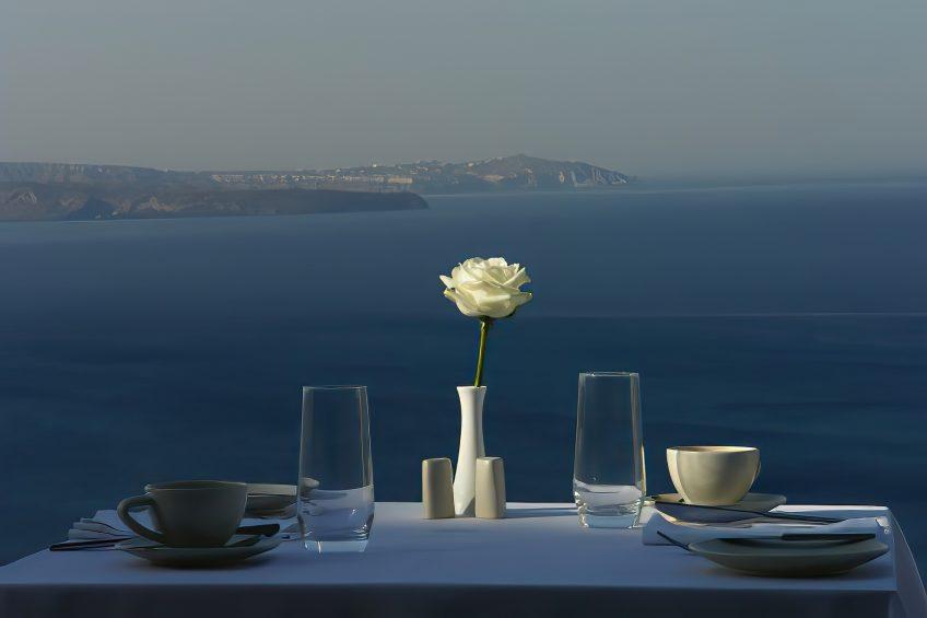 Mystique Luxury Hotel Santorini – Oia, Santorini Island, Greece - Cliffside Restaurant Table Ocean View