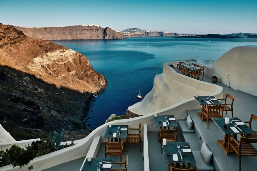 Mystique Luxury Hotel Santorini – Oia, Santorini Island, Greece - Cliffside ASEA Lounge Restaurant