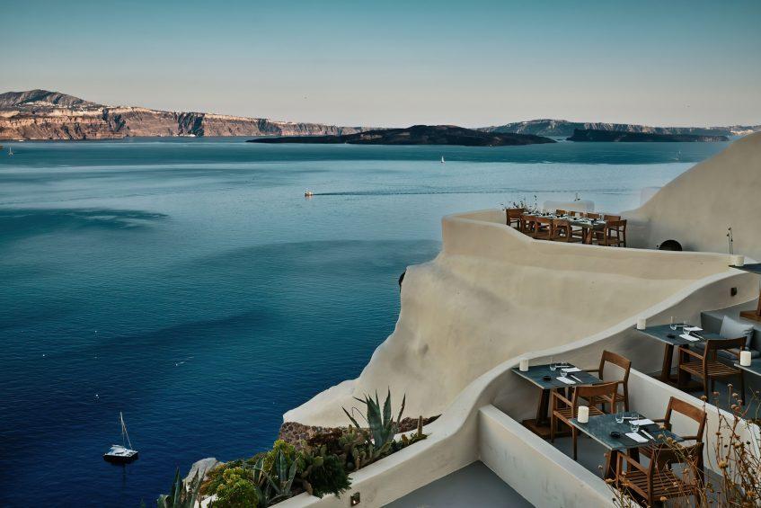 Mystique Luxury Hotel Santorini – Oia, Santorini Island, Greece - Cliffside ASEA Lounge Restaurant Ocean View