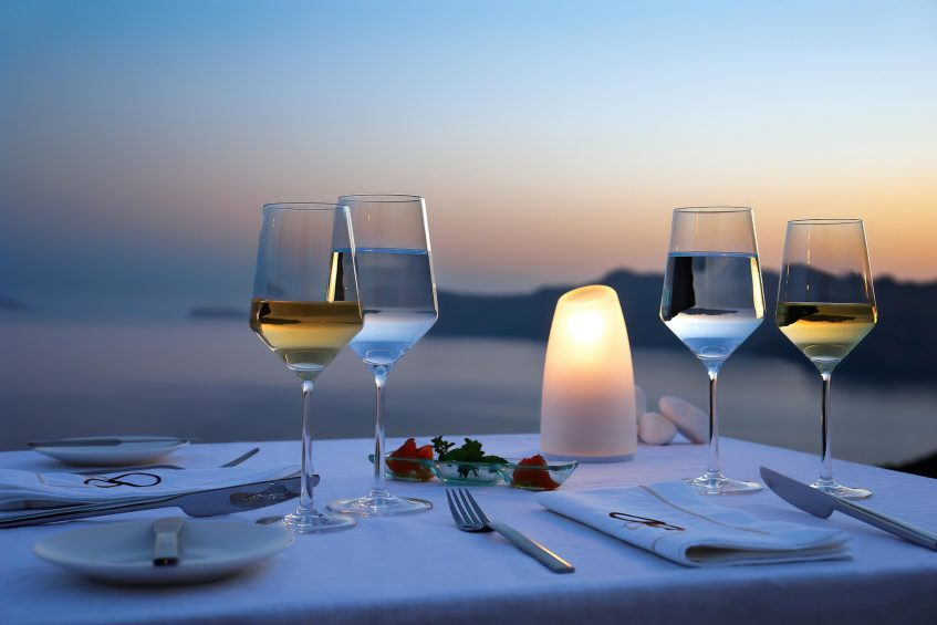 Mystique Luxury Hotel Santorini – Oia, Santorini Island, Greece - Dining Table Ocean View