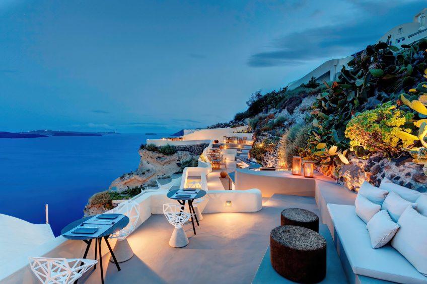 Mystique Luxury Hotel Santorini – Oia, Santorini Island, Greece - Cliffside ASEA Restaurant and Lounge Ocean View
