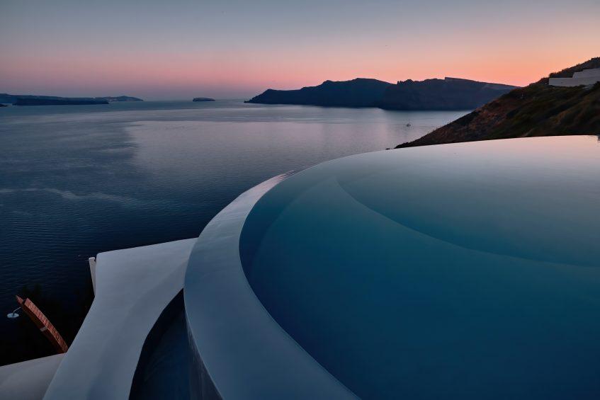 Mystique Luxury Hotel Santorini – Oia, Santorini Island, Greece - Cliffside Infinity Pool Sunset Ocean View