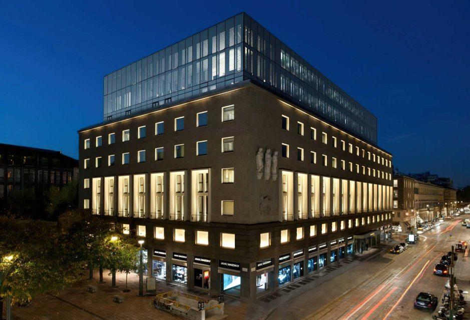 Armani Luxury Hotel Milano - Milan, Italy - Hotel Exterior Night Aerial View