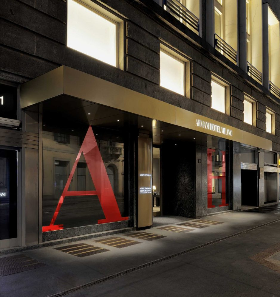 Armani Luxury Hotel Milano - Milan, Italy - Night Front Entrance Red A