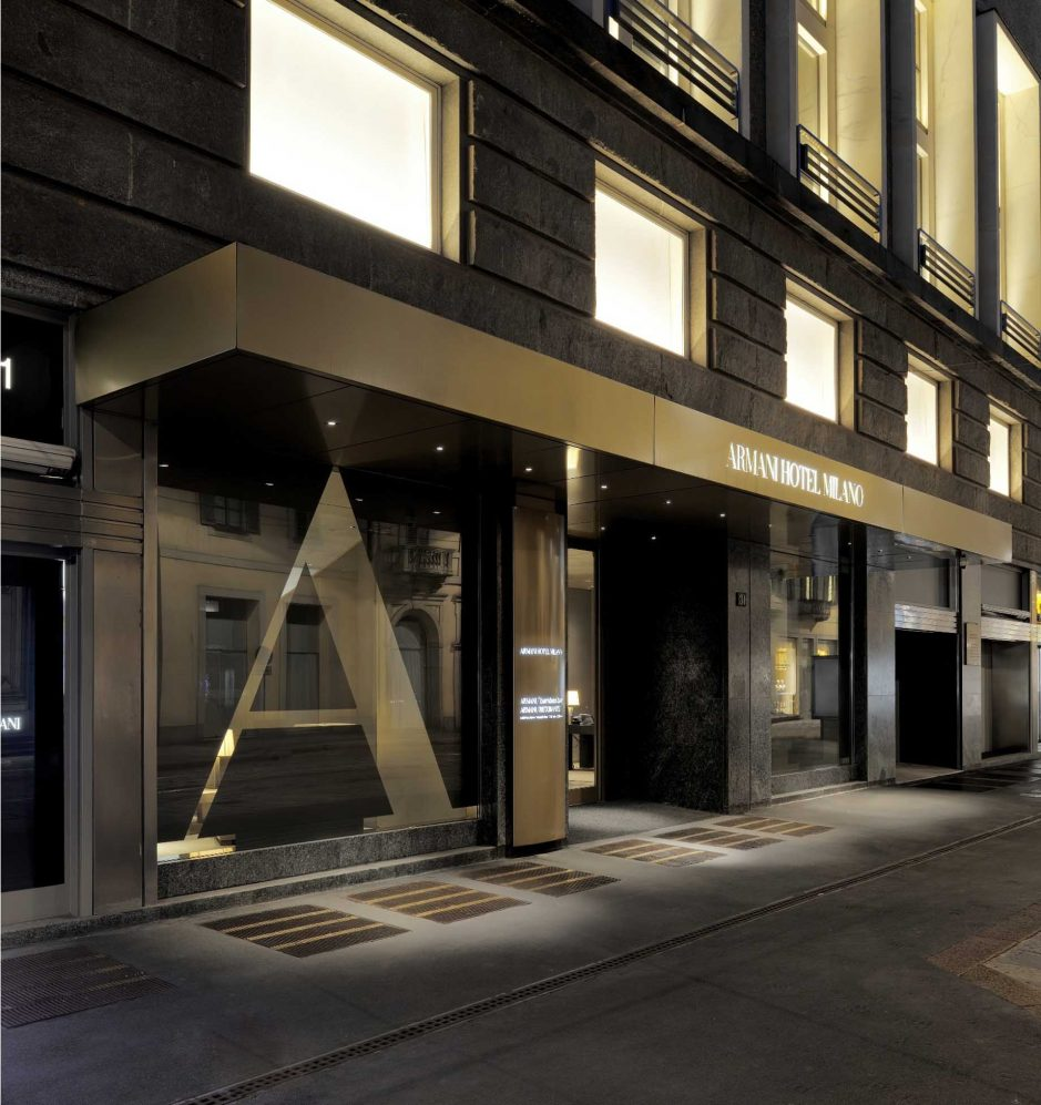 Armani Luxury Hotel Milano - Milan, Italy - Night Front Entrance Gold A