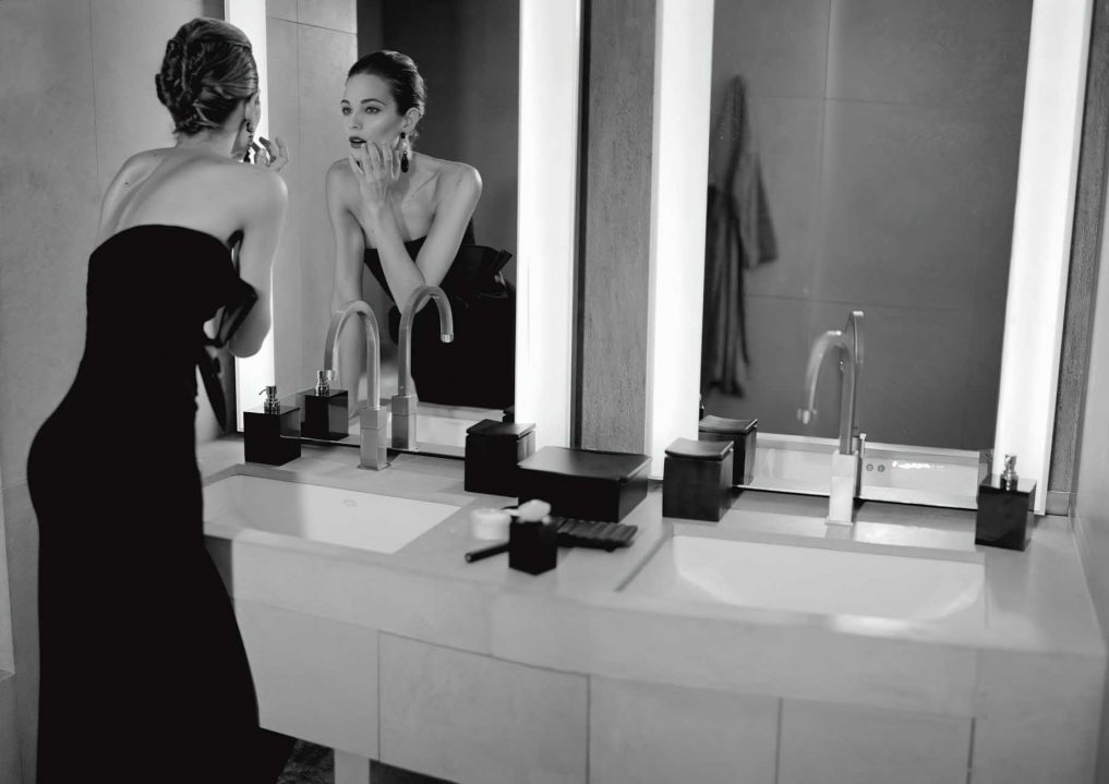Armani Luxury Hotel Milano - Milan, Italy - Beautiful Girl in Black Evening Dress