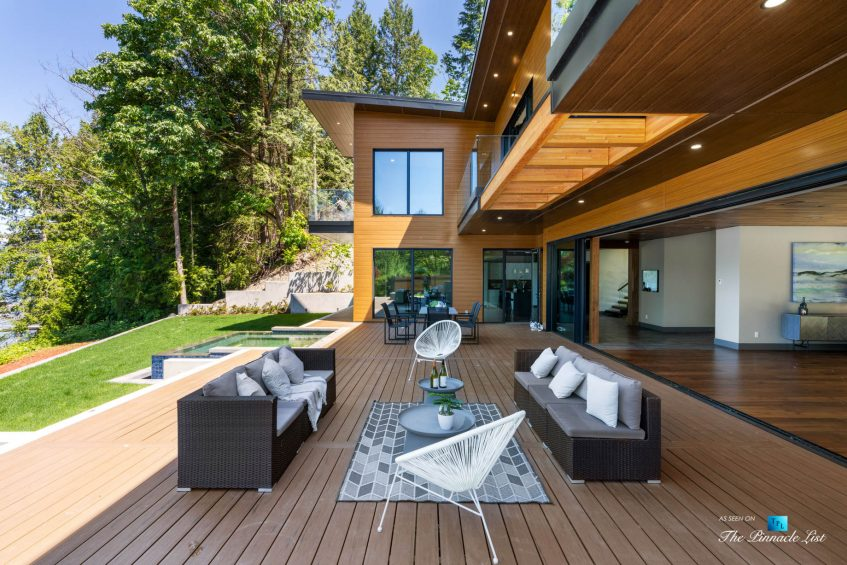 3350 Watson Rd, Belcarra, BC, Canada - Vancouver Luxury Real Estate - Oceanfront Deck Patio Tables and Chairs