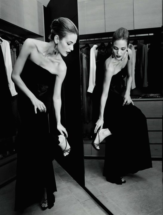 Armani Luxury Hotel Milano - Milan, Italy - Beautiful Girl in Black Evening Dress with Stiletto Shoes