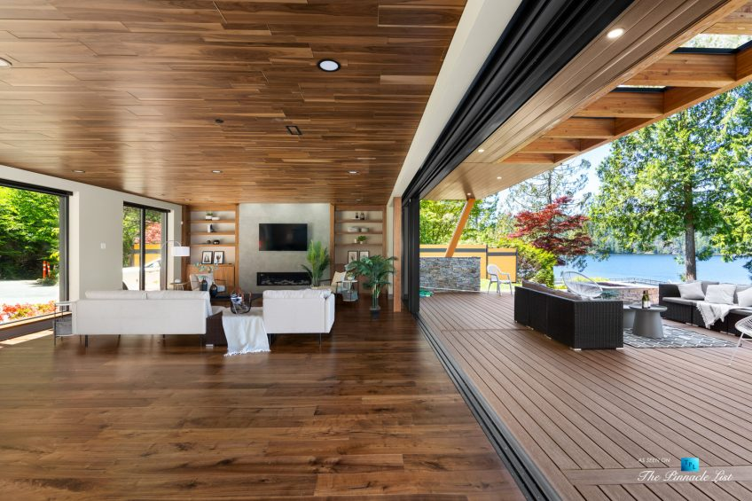 3350 Watson Rd, Belcarra, BC, Canada - Vancouver Luxury Real Estate - Living Room and Oceanfront Deck