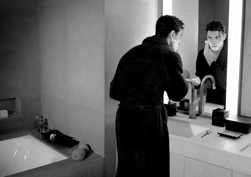 Armani Luxury Hotel Milano - Milan, Italy - Hotel Guest Shaving in Mirror