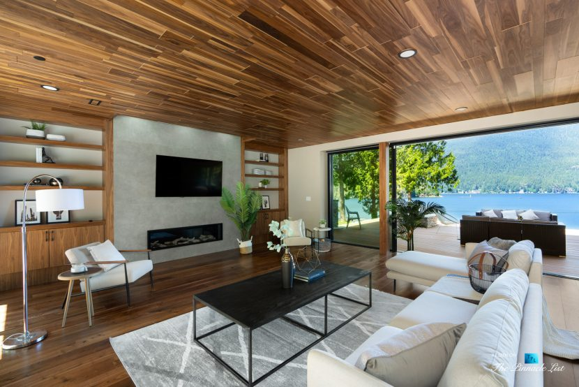 3350 Watson Rd, Belcarra, BC, Canada - Vancouver Luxury Real Estate - Living Room Fireplace Oceanview