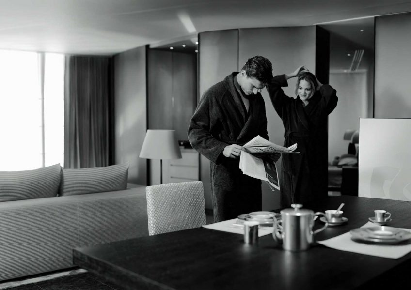 Armani Luxury Hotel Milano - Milan, Italy - Couple Getting Ready for in Room Breakfast