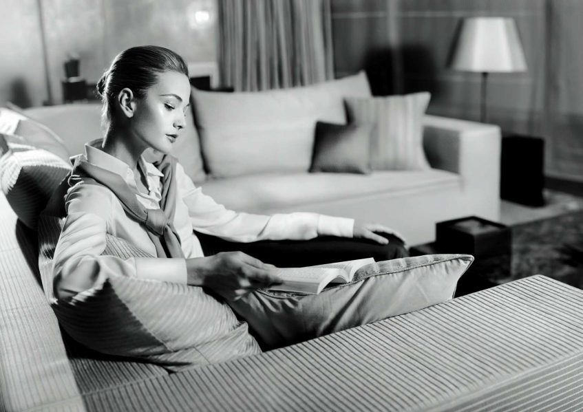 Armani Luxury Hotel Milano - Milan, Italy - Hotel Guest Reading a Book