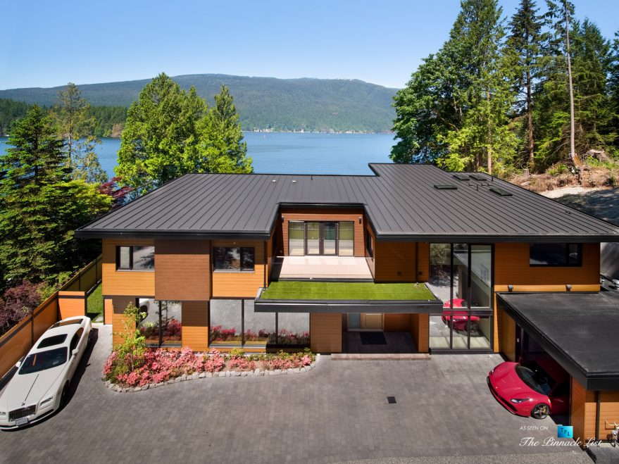 3350 Watson Rd, Belcarra, BC, Canada - Vancouver Luxury Real Estate - Modern Oceanfront Architectural Home with Red Ferrari and White Rolls-Royce