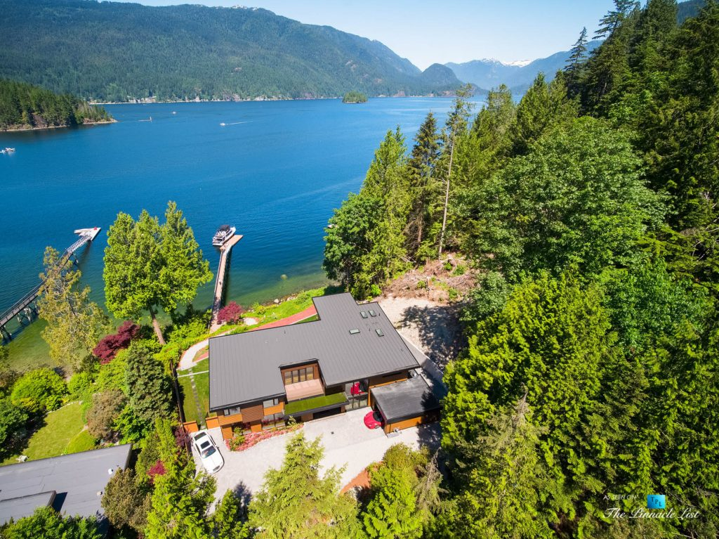 3350 Watson Rd, Belcarra, BC, Canada - Vancouver Luxury Real Estate - Modern Oceanfront Architectural Home with Red Ferrari and White Rolls-Royce Aerial View