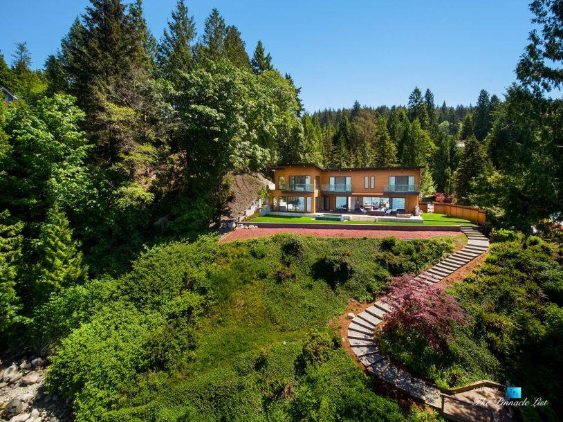 3350 Watson Rd, Belcarra, BC, Canada - Vancouver Luxury Real Estate - Modern Indoor Ourdoor Living Oceanfront Home Aerial View