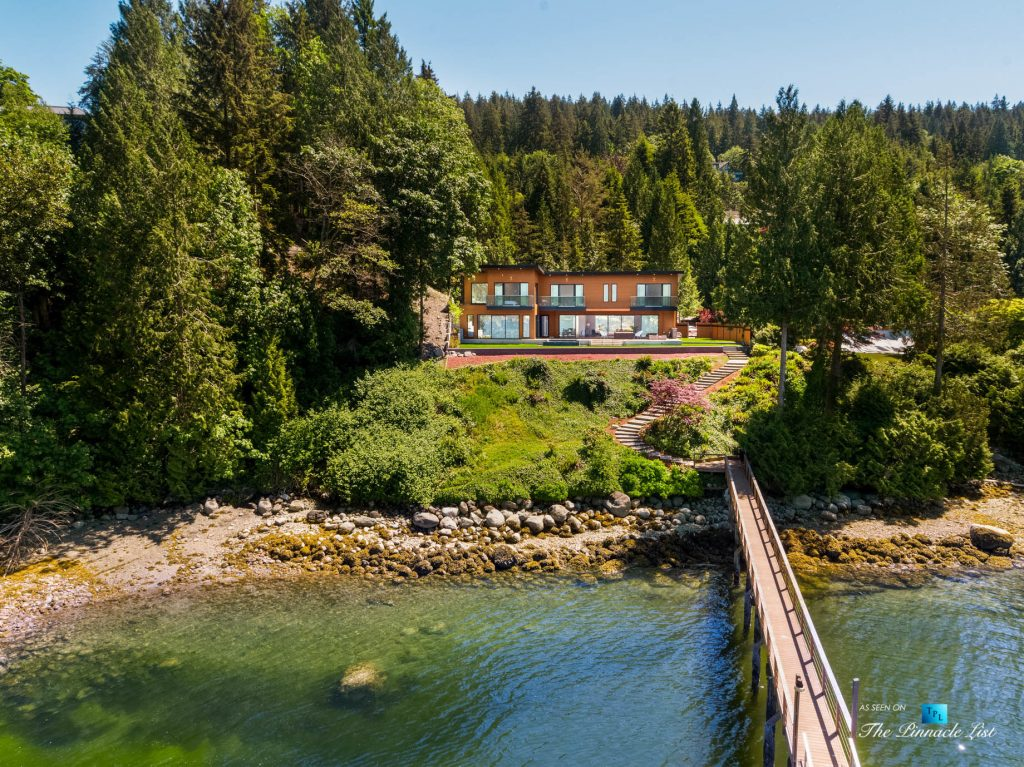 3350 Watson Rd, Belcarra, BC, Canada - Vancouver Luxury Real Estate - Modern Indoor Ourdoor Living Oceanfront Home with Private Dock Aerial View