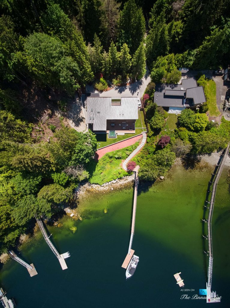 3350 Watson Rd, Belcarra, BC, Canada - Vancouver Luxury Real Estate - Modern Indoor Ourdoor Living Oceanfront Home with Private Dock Overhead Aerial View