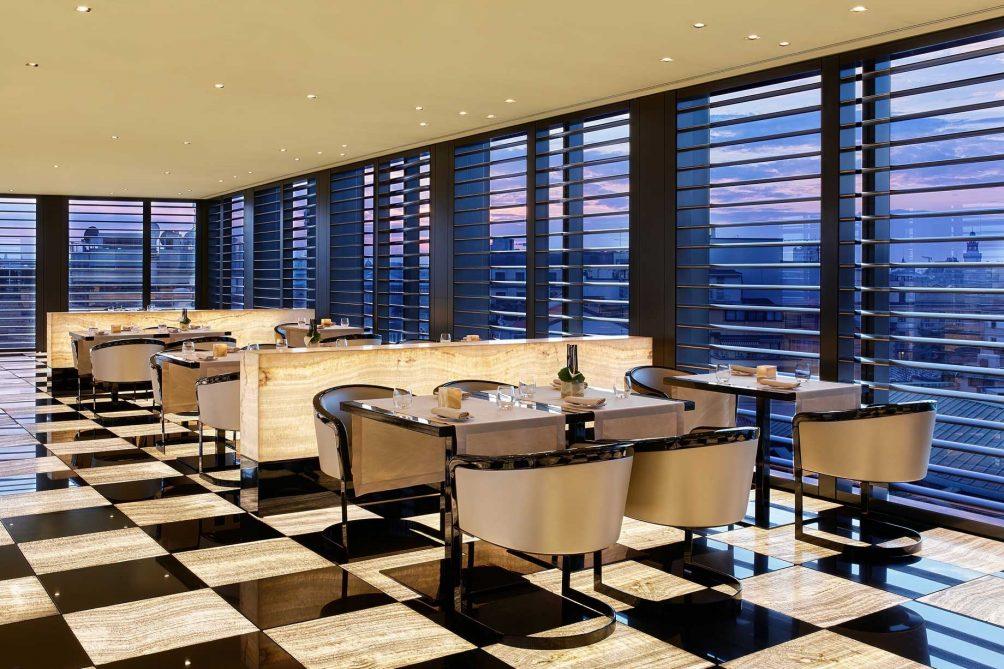 Armani Luxury Hotel Milano - Milan, Italy - Armani Restaurant Table Seating Twilight