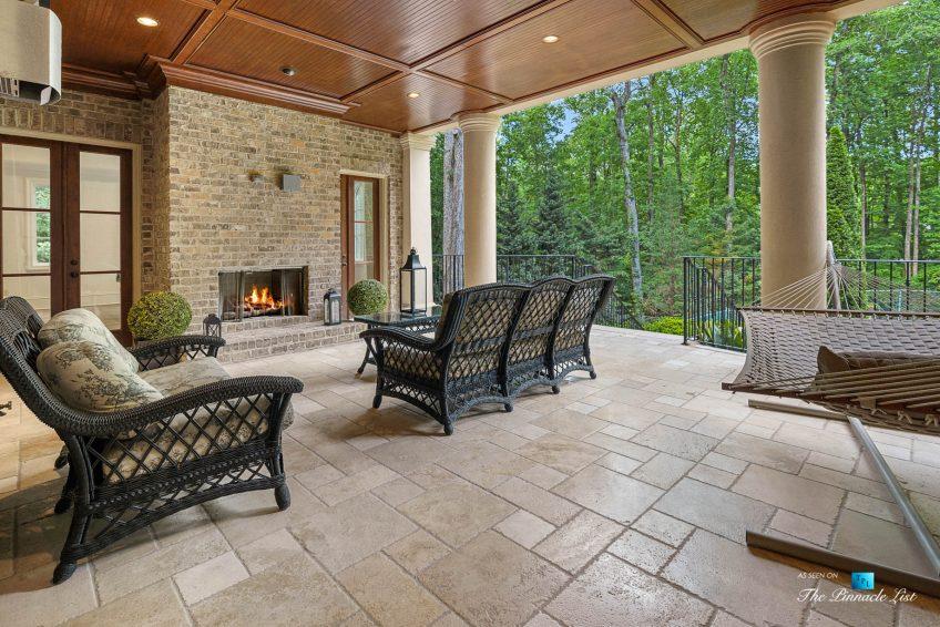 5705 Winterthur Ln, Sandy Springs, GA, USA - Atlanta Luxury Real Estate - Winterthur Estates Home - Covered Deck with Fireplace
