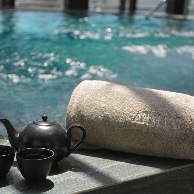 Armani Luxury Hotel Milano - Milan, Italy - Armani SPA Relaxation Pool Towel and Tea Service