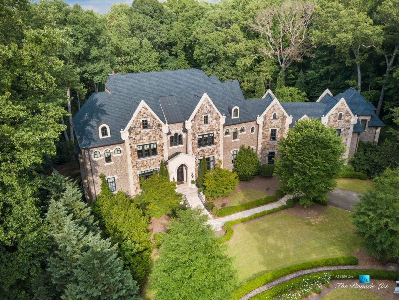 5705 Winterthur Ln, Sandy Springs, GA, USA - Atlanta Luxury Real Estate - Winterthur Estates Home - Front Yard Aerial View